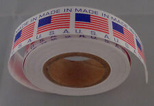 """MADE IN U.S.A. American Flag product decals 5/8"""" by 5/8"""" ROLL OF 500 stickers"""