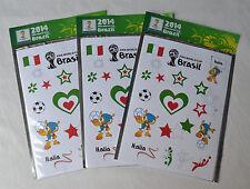 Italian soccer team Fan tatto Fifa World Cup 2014 Brasil Lot 3x Football sticker