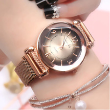 Luxury Rose Gold Magnetic Clip Adjustable Mesh Strap Women's Wrist Watch Gift