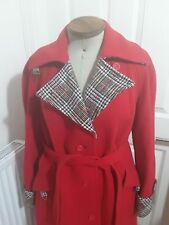 Vintage Ladies Weatherall Wool Coat bright orange red and tweed size 12-14