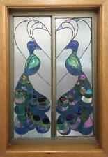 PEACOCKS STAINED GLASS PATTERN - WINDOW PATTERN PEACOCKS and HEART COPPER FOIL