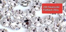 200 Genuine SWAROVSKI Crystals Clear Flatbacks No HotFix 20ss 5mm flat back 20