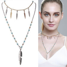 New Necklace Long Double Layered Boho Feather Turquoise Beads UK