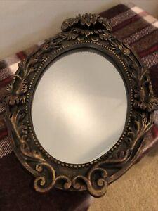 "Vintage Ornate Hard Resin plastic Framed Wall Mirror 15x10"""