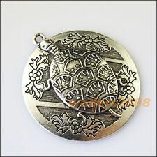 1 New Round Tortoise Flower Tibetan Silver Tone Charms Pendants 49x54mm