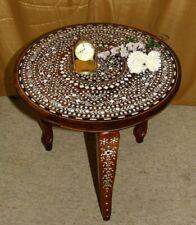 Orientalischer Teetisch Beistelltisch Intarsien Massivholz Braun rund Indien