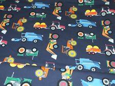 Baumwoll Jersey Traktor Mähdrescher dunkelblau bunt Jungs Kinderstoff Meterware