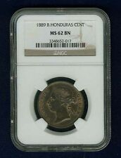 BRITISH HONDURAS VICTORIA 1889 1 CENT COIN, UNCIRCULATED CERTIFIED NGC MS62-BN