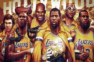 Lakers Championship Poster- Kobe Shaq Lebron Magic Kareem West Art Print