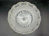 "Antique Cut Glass Bowl American Brilliant Period 9"" Detailed Saw Tooth Fan Edge"