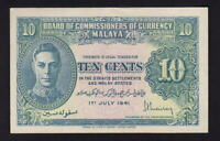 MALAYA P-8. (1941) 10 Cents.. King George VI Portrait..  aUNC