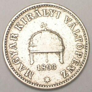 1893 Hungary Hungarian 20 Filler Crown Coin VF