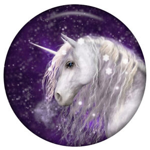 White Magical Unicorn Purple Sky Enamel 20mm Snap Charm Jewelry For Ginger Snaps