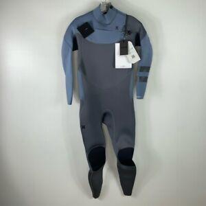 Hurley Mens Advantage Plus 4/3mm Fullsuit Grey Blue Zipper Mock Neck M New
