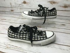 Converse All-Star Womens 7 Gingham Black White Checkered Plaid Sneakers Shoes