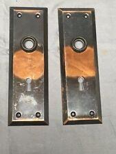 Vtg Pair NOS Steel Japaned Copper Flash Door Backplates Old Hardware 462-17E