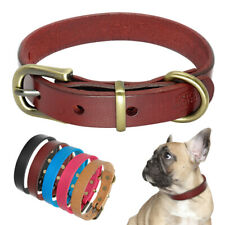 Solid Leather Pet Dog Collars Small Large Heavy Duty Copper Plating Buckle