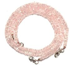 """Natural Gem Rose Quartz Fine Quality Smooth 4MM Heishi Square Bead Necklace 17"""""""