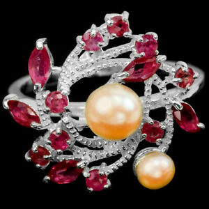 GENUINE AAA PINK PEARL & RED RUBY STERLING 925 SILVER FLOWER RING SIZE 8.75
