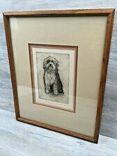 Framed Signed Numbered 33/100 Keith Lee Etching Print Bearded Collie Dog