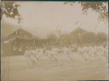 France, Revue donnée par les troupes ca.1897 vintage citrate print Vintage citra