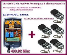 Universelle 2 canaux rolling code 433,92 MHz récepteur 12-24V + 5 télécommandes.