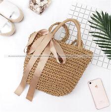 Fashion Brown Bowknot Straw Beach Bag Tote Basket Handbag Shoulder Bag S2