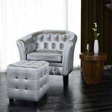 Silver Tufted Tub/Barrel Design Armchair Club Chair Accent w/ Ottoman Foot  Stool