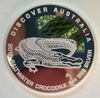 Australia 2010 Crocodile Dollar 1oz Silver Coin,Proof