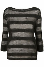 TOPSHOP PETITE BLACK SELF STRIPE SHEER GRUNGE JUMPER 8 36 4