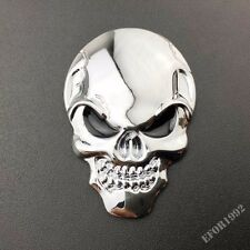 Chrome Skull 3D Metal Car Truck Motorcycle Tank Logo Emblem Badge Decal Sticker