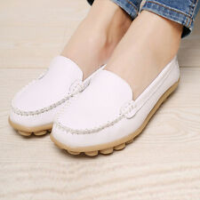 Women Casual Leather Slip on Loafers Moccasin Flats Boat Oxfords Shoes S3