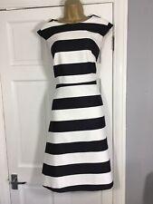 M&S Autograph Black & White Stripe Shift Dress Size 18
