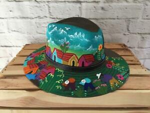 Hand Painted Mexican Hat - Painted Mexican Sombrero Hat - Mexican Artisanal Hat