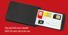 TRAVELLING SIM / MEMORY CARD SAFE CASE WITH GRIP PAD & EJECTOR  FOR MOBILE USERS