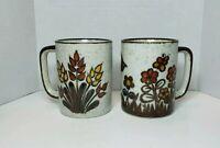 Vintage Otagiri bird flower butterfly Coffee Mug Cup Hand Painted Stoneware set