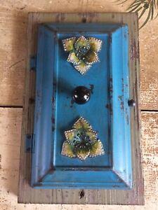 Metal Wood Hidden Key Art With Flowers Hook Hanging Magnetic Door Shabby Chic