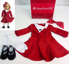 American Girl KIT HOLIDAY OUTFIT Christmas Doll Clothes Brooch Tights Shoes BOX!
