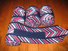 New set of 4 navy/pink/white chevron horse polo wraps (horse/pony leg wraps)