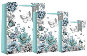 Floral Illustration Gift Bag Birthday Mothers Day Mum Party Girls Adult Female