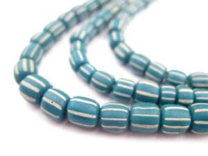 Teal Java Gooseberry Beads 5mm Indonesia Green Cylinder Glass 24 Inch Strand
