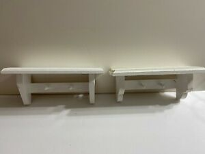"""Set of 2 White Shabby Chic Decorative Wooden Shelves w/Pegs 10"""" L 4.5"""" T 3.5"""" W"""