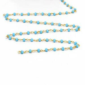 """Sky Blue Hydro Quartz Gemstone Rondelle Faceted Beads Chain 24"""" Jewelry CH-20"""