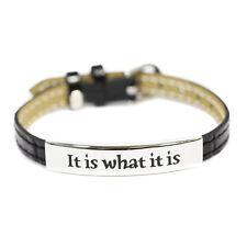 It Is What It Is Black Faux Leather Bracelet