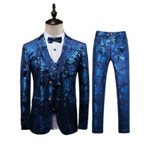 Men's Dress Formal Wedding Suit 3pcs Blazer Jacket Pants Vest Two Button New L