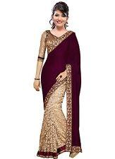 Bollywood Fashion-Wedding Party Wear Embroidery Designer magenta velvet sari