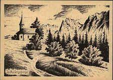 Künstlerkarte Kunst PK ~1940/50 Kapelle im Kaisergebirge Tirol in Österreich