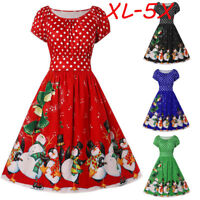 Fashion Women Vintage Plus Size Penguin Dot Print Christmas O-Neck Party Dress