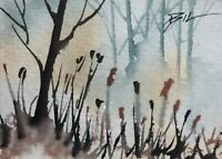 ACEO ATC original art miniature painting ' Forest Flowers ' by Bill Lupton
