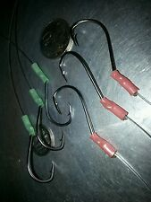 22cm QUALITY S/STEEL SUICIDE HOOKS 3 x 6/0 3 x 5/0 READY ON 80LB DROPPERS LUMO